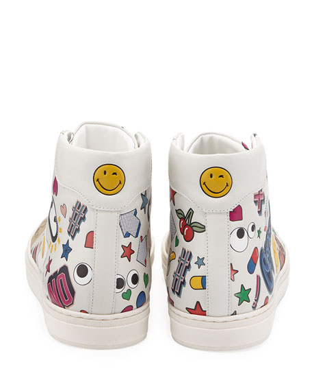 Stickers Leather High-Top Sneaker, White