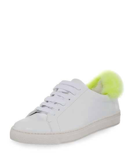 Anya Hindmarch Low-Top Sneaker w/Mink Fur Pompom, White