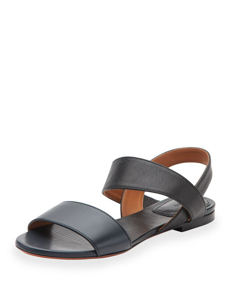 Chloe Leather Double-Band Flat Sandal, Abyss Blue