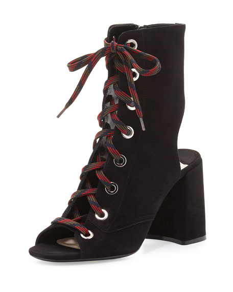 Lace-Up Suede Peep-Toe Bootie, Black (Nero)