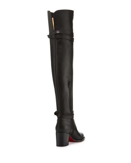 65bf66a124c Karialta Leather 70mm Red Sole Over-the-Knee Boot Black
