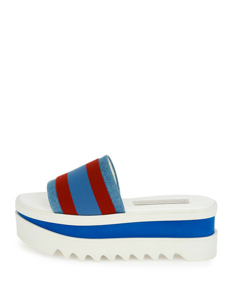 Striped Fabric Platform Slide Sandal, Garn/Pervin