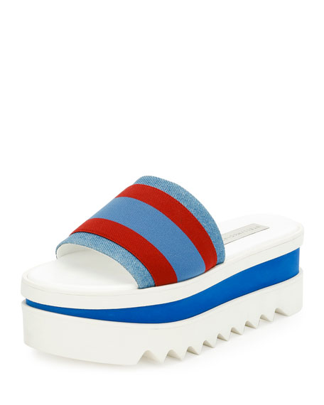 98925a6c44c Stella McCartney Striped Fabric Platform Slide Sandal