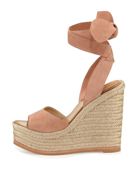 Lulea Suede Espadrille Wedge Sandal, Blush