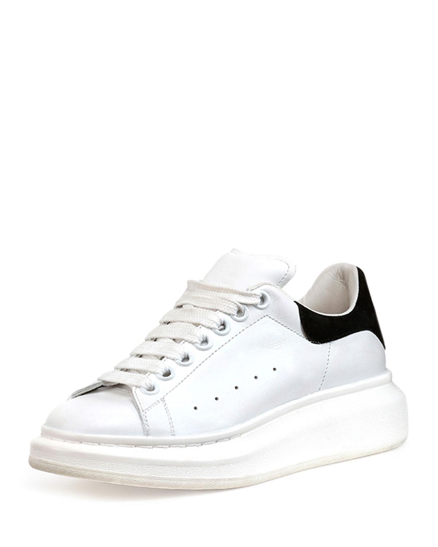 Alexander McQueen Leather Platform Sneaker, White/Black