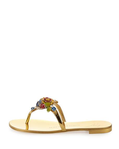 Nuvorock Floral Flat Thong Sandal, Gold