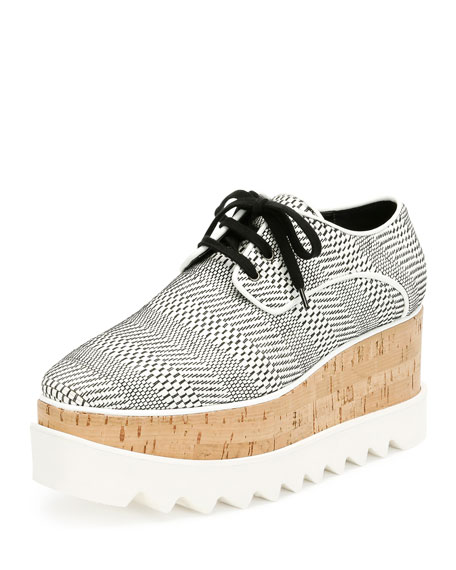 Elyse Printed Platform Oxford, White/Black