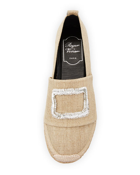 Canvas Crystal-Buckle Espadrille Flat, Beige