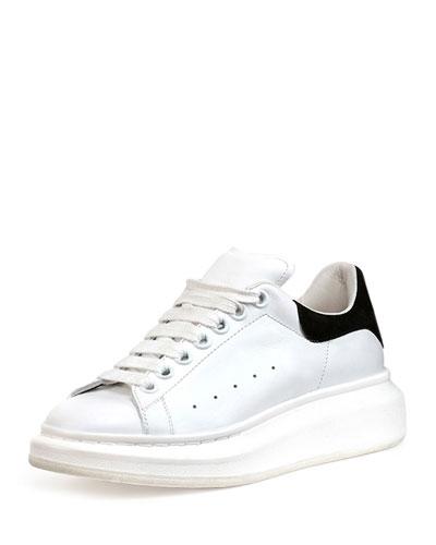 Leather Platform Sneaker, White/Black