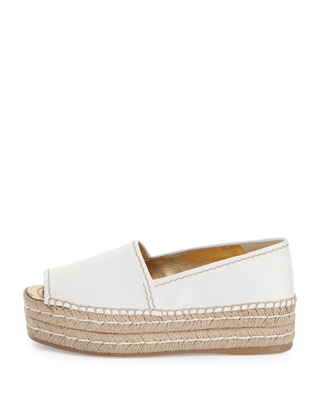 Napa Leather Platform Espadrille