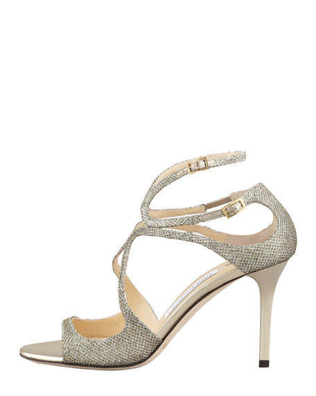 Ivette Glitter Fabric Crisscross Sandal, Light Bronze