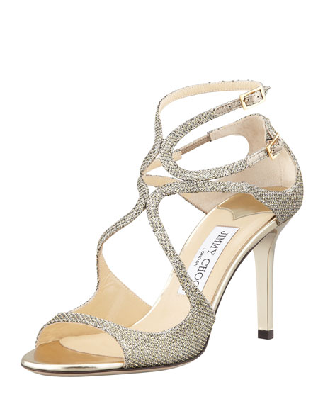 Jimmy Choo Ivette Glitter Fabric Crisscross Sandal, Light