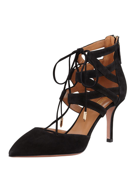 Aquazzura Belgravia Lattice Suede Sandal, Black