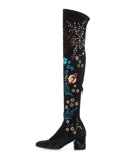 Astro Couture Over-the-Knee Boot, Black/Multi