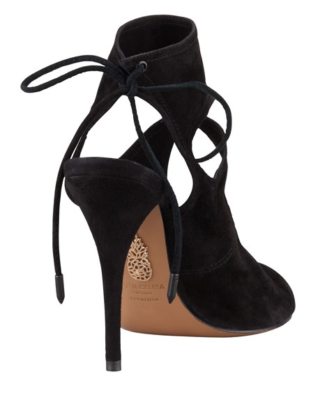 Sexy Thing Suede Cutout Sandal, Black