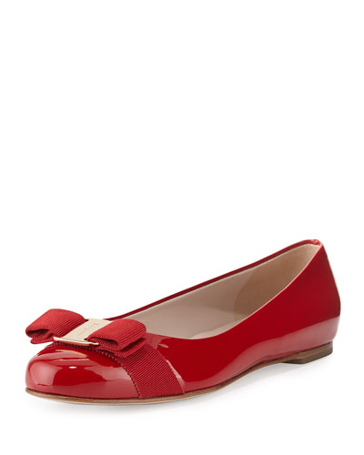 Varina Patent Bow Ballet Flats  Rosso (Red)