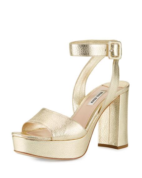 Miu Miu Metallic Platform Ankle-Wrap Sandal, Pyrite