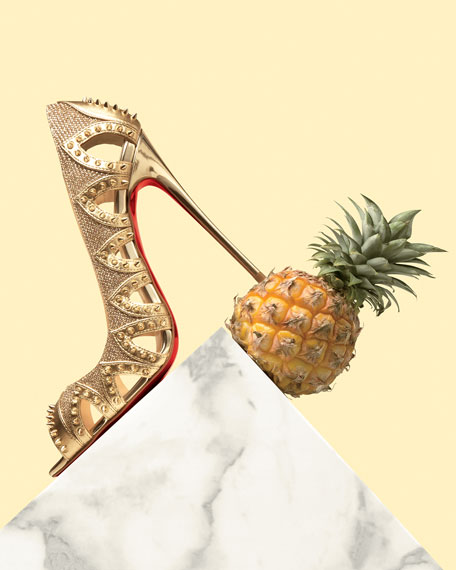 a0ddcb2c319 Circus City Spiked Red Sole Pump Gold