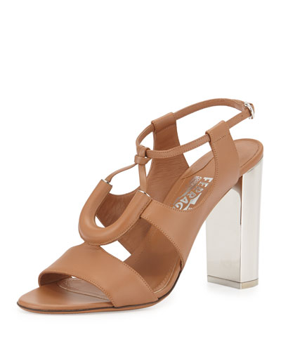 Tubular Leather Sandal, Camel