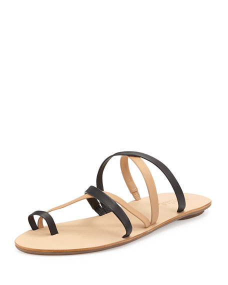 0093e25b7 Loeffler Randall Sarie Leather Toe-Ring Flat Sandal, Black/Buff