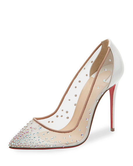 Christian Louboutin Follies Strass 100mm Red Sole Pump,