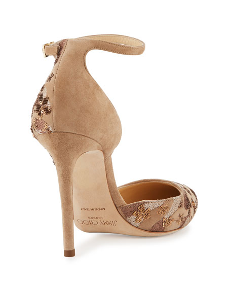 Lucy Sequined Half-d'Orsay Pump, Nude Mix