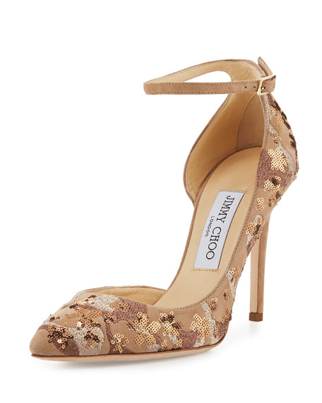 Jimmy Choo Lucy Sequined Half-d'Orsay Pump, Nude Mix