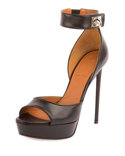Leather Shark-Lock Sandal, Black
