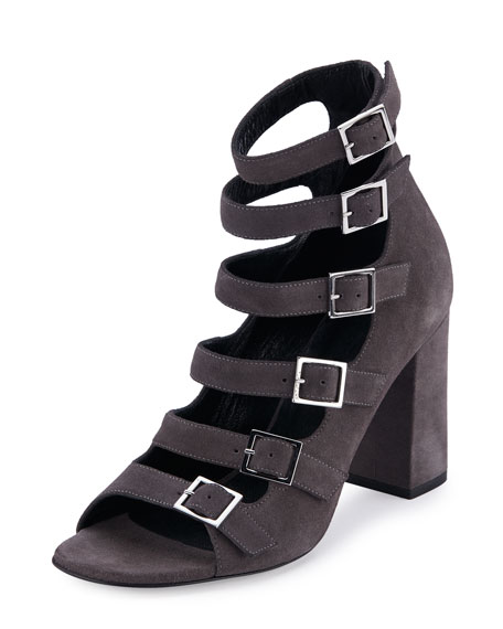 Suede Babies Multi-Strap 90mm Sandals, Dark Anthracite