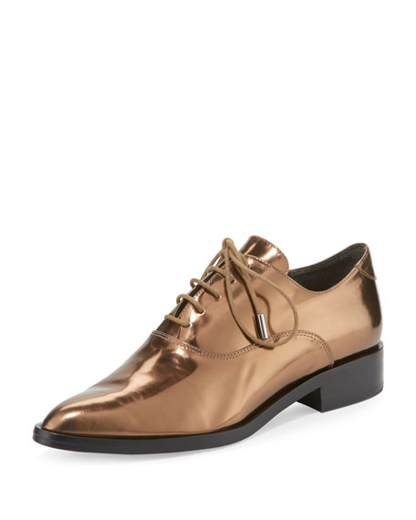 Edie Metallic Leather Oxford, Bronze
