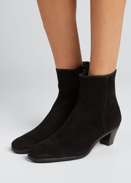 Suede Stack-Heel Ankle Bootie