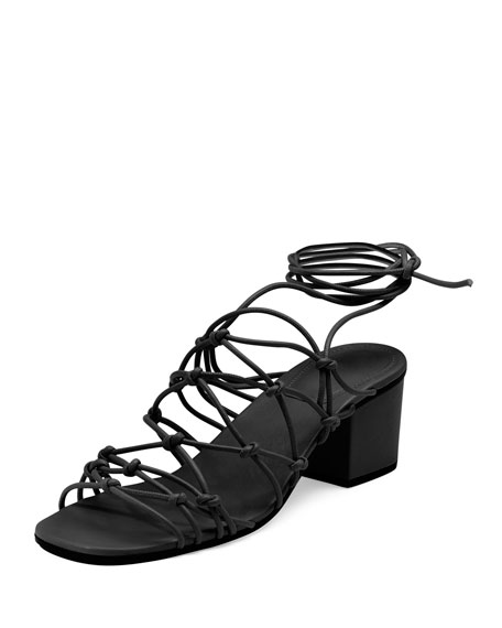 Chloe Knotted Leather Low-Heel Gladiator Sandal, Black