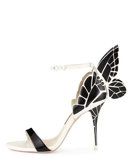 Chiara Butterfly Wing Ankle-Wrap Sandal, Black/White