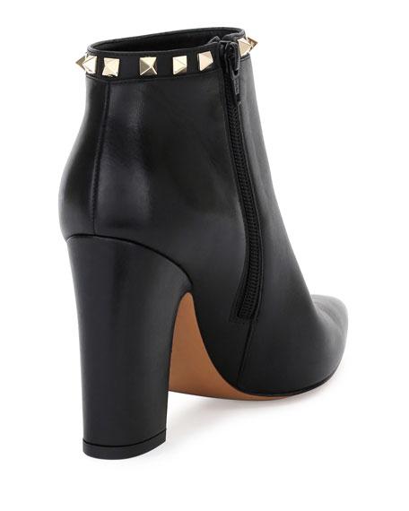 Rockstud Leather Ankle Boot, Black (Nero)