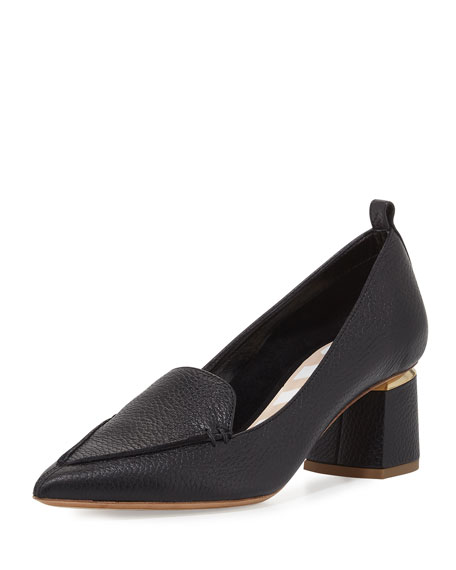 Beya Leather Loafer Pump, Black