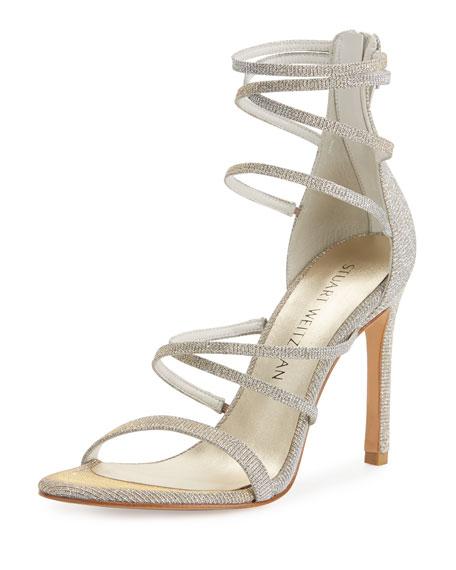 Stuart Weitzman Myex Strappy Shimmery Sandal, Magnesium