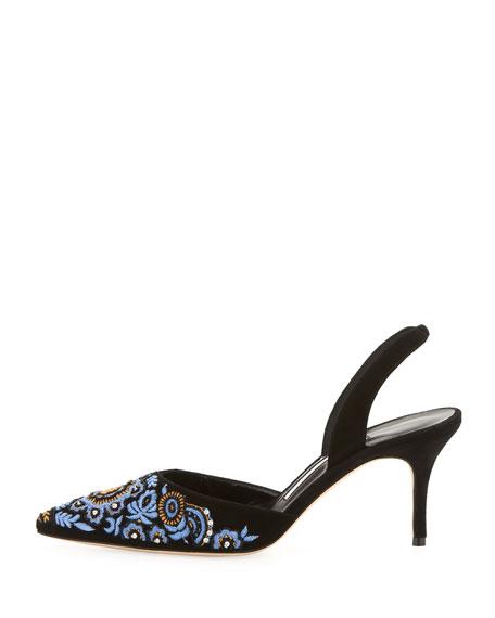 Carolyne Embroidered Suede Mid-Heel Slingback Pump