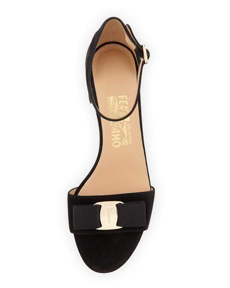 Suede Block-Heel Sandal, Black (Nero)
