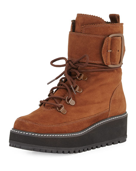 Stuart Weitzman Attackit Lug-Sole Hiker Boot, Walnut