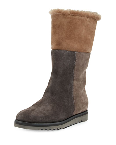 Paulina Fur-Lined Patchwork Tall Boot, Graphite/Combo