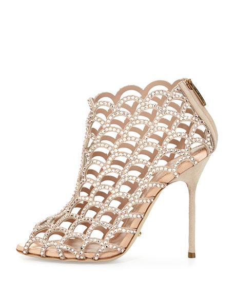 Scalloped Crystal Peep-Toe Sandal, Beige