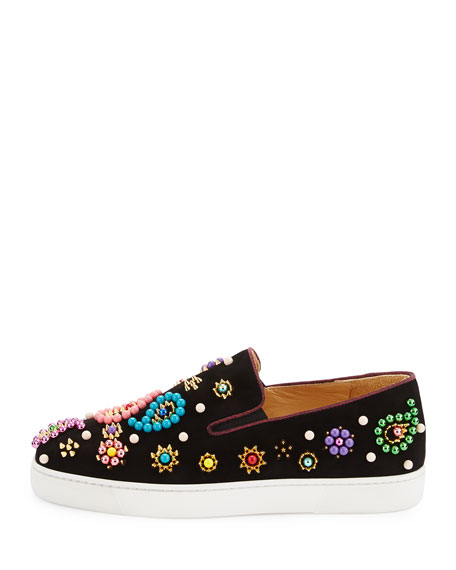 Boat Candy Beaded Velvet Red Sole Sneaker, Black