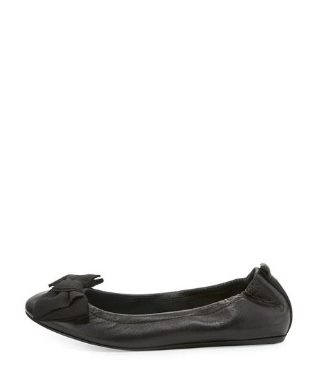 Bow Leather Ballerina Flat