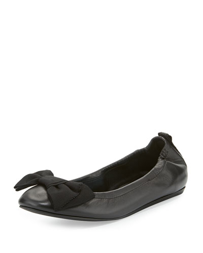 Bow Leather Ballerina Flat