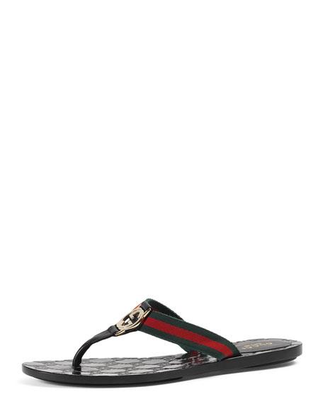 GG Web Thong Sandal, Cocoa