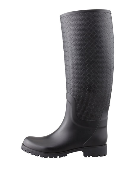 Intrecciato Rubber Rainboot, Black