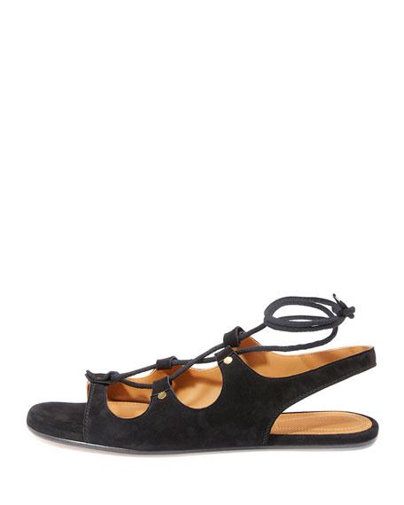 Lace-Up Slingback Gladiator Sandal, Black