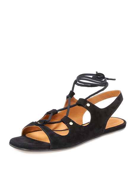 Chloe Lace-Up Slingback Gladiator Sandal, Black