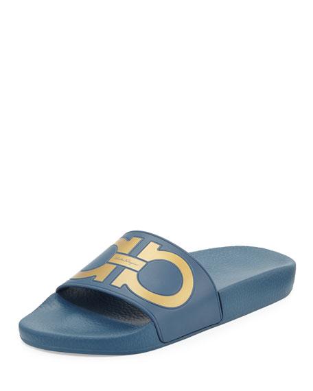 Salvatore Ferragamo Groove Gancini Flat Slide Sandal, Pacific/Oro