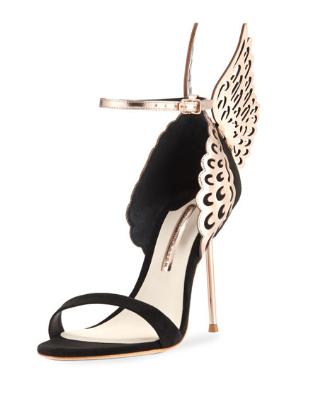 Evangeline Angel Wing Sandal, Black/Rose Gold